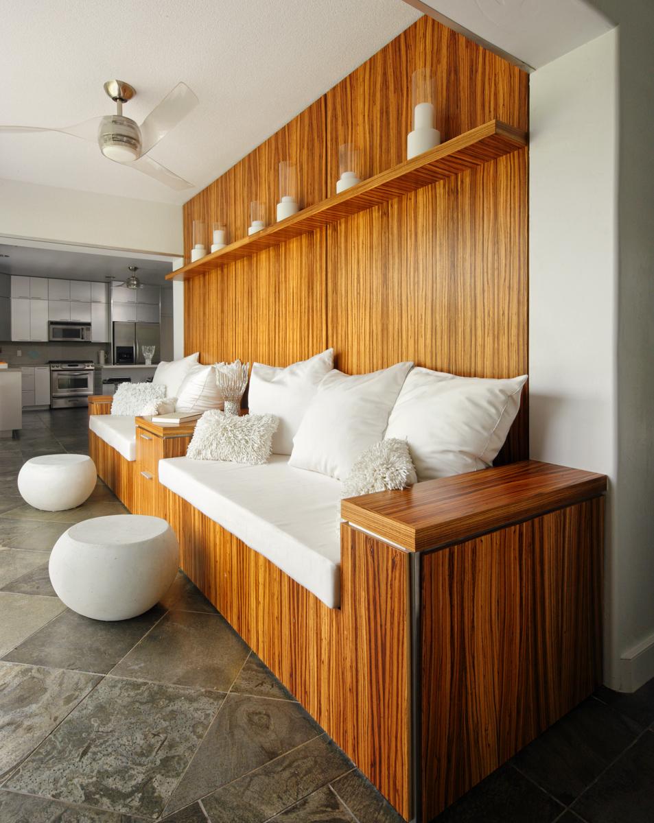 Hawaiian home's modern white room created using custom cushions