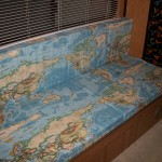 World map fabric RV cushions