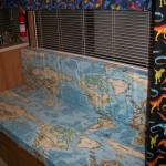 Mr. Wagoner was more than happy with his world map fabric cushions.
