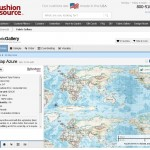 """Cushion Source's world map fabric is called """"My Map"""" by Highland Taylor Fabrics and is available in color (shown) and sepia tones."""