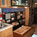 Information about prehistoric history is shown at the mobile museum.