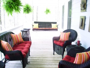 Outdoor seating provides a focal point